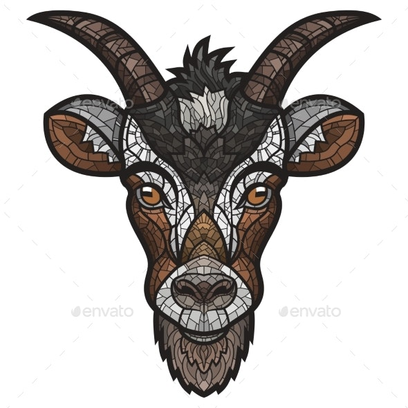 Goat Head Vector Image on White Background - Animals Characters