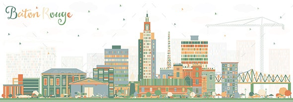 Baton Rouge Louisiana City Skyline with Color Buildings - Buildings Objects
