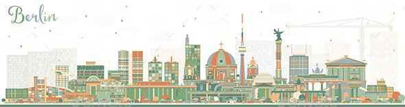 Berlin Germany City Skyline with Color Buildings - Buildings Objects