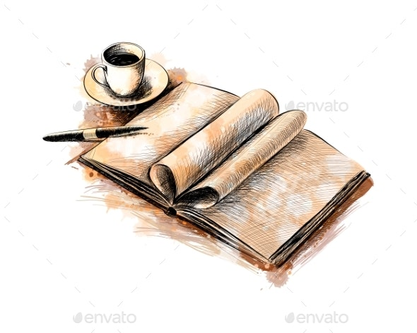 Cup of Coffee and a Book with a Pen - Miscellaneous Vectors