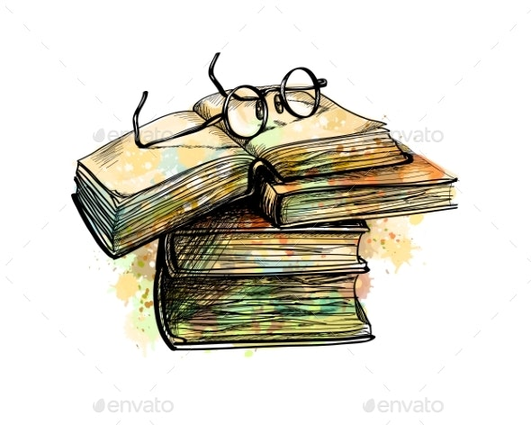 Eyeglasses on Top Stack Books - Miscellaneous Vectors