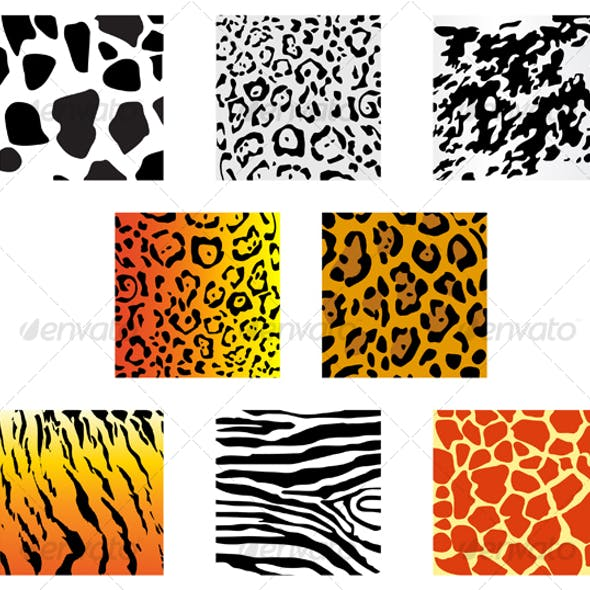 Set of animal fur and skin patterns