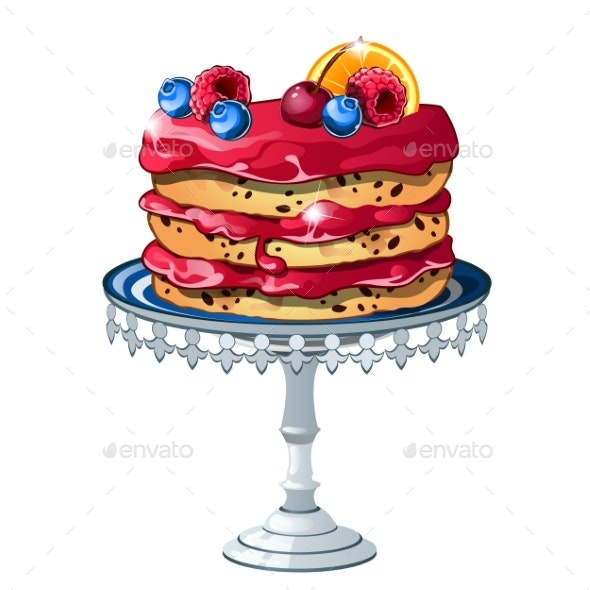 Puff Cake with Fresh Fruits and Berries Isolated - Food Objects