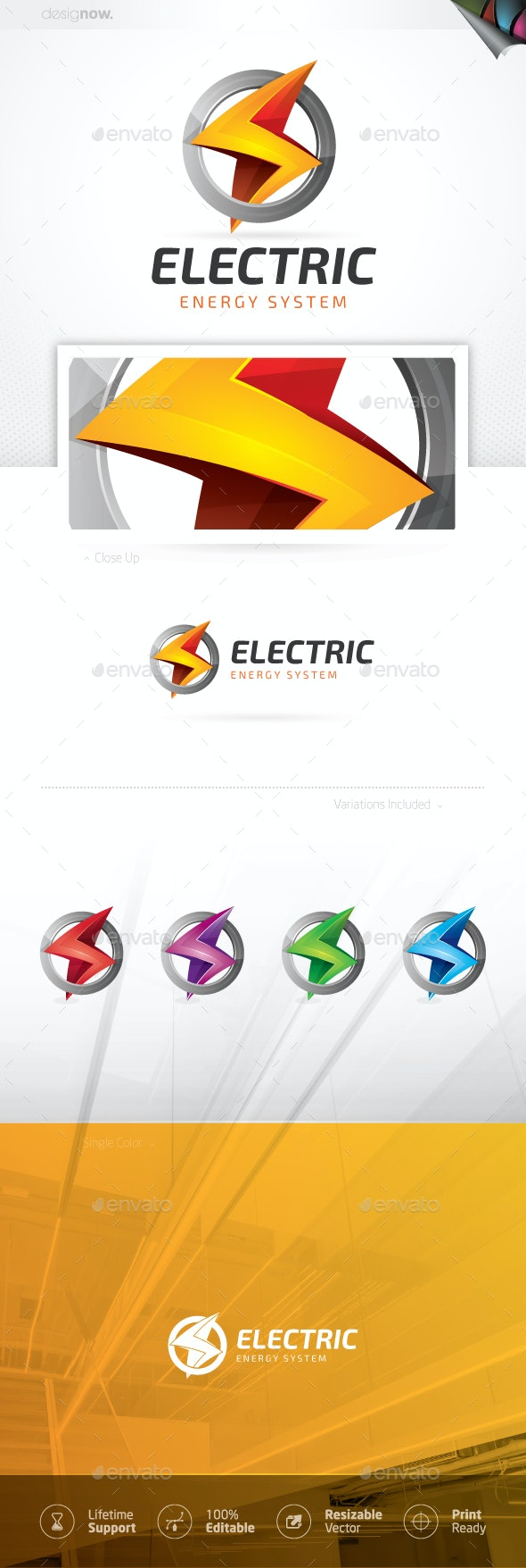 Electric Thunder Energy Logo - Company Logo Templates