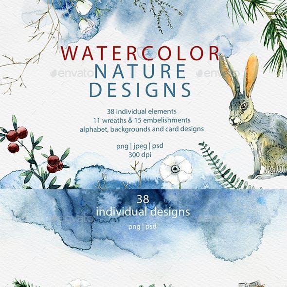 Watercolor all Seasons Illustrations