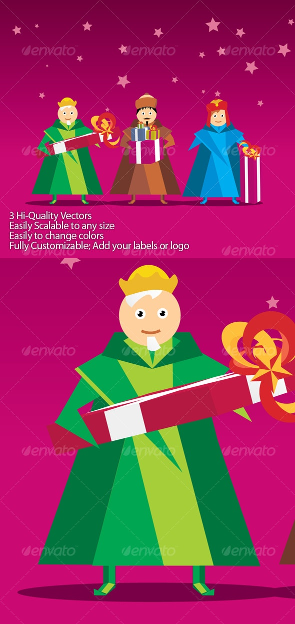 Three kings with gifts Vector - Characters Vectors