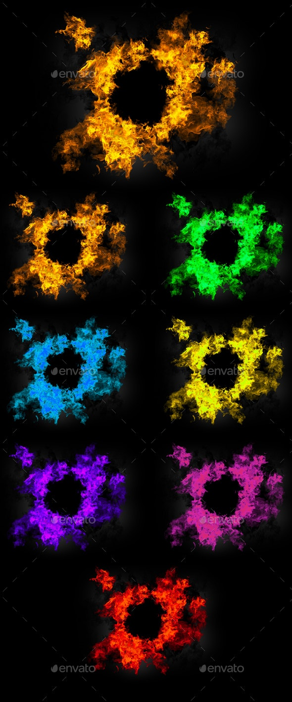 7 Colored Rings of Fire on Transparent Background
