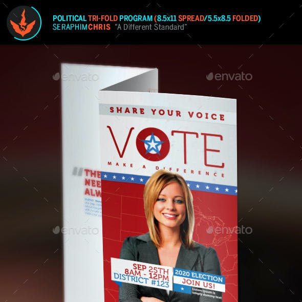 Vote Political Election Tri-Fold Brochure Template