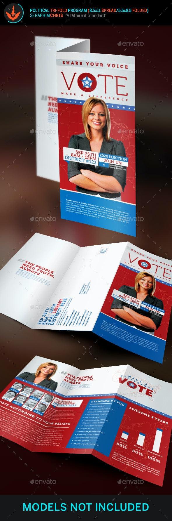 Vote Political Election Tri-Fold Brochure Template - Corporate Brochures