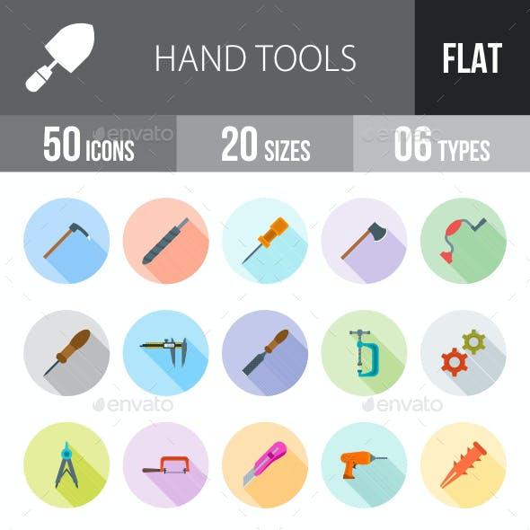 Hand Tools Flat Shadowed Icons