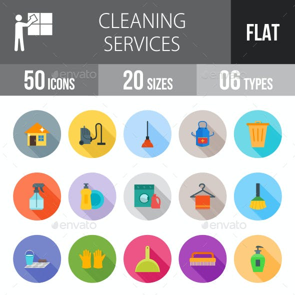 Cleaning Services Flat Shadowed Icons