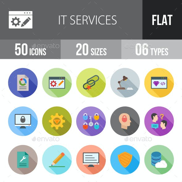IT Services Flat Shadowed Icons