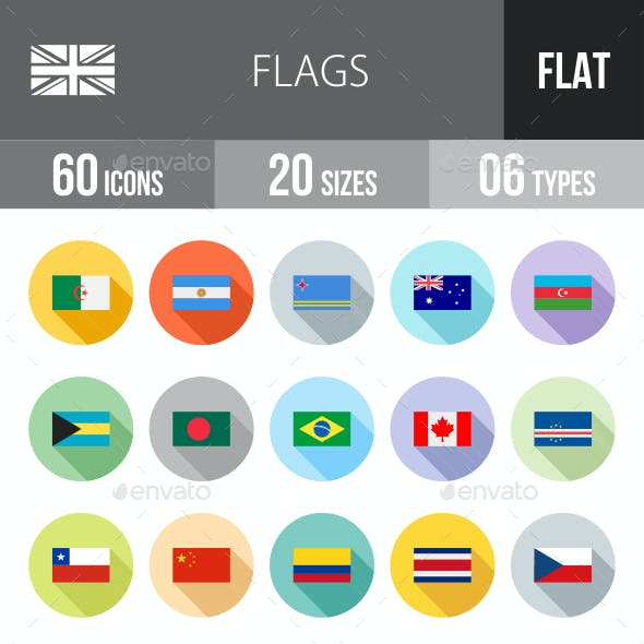 Flags Flat Shadowed Icons