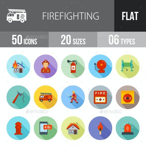 Firefighting Flat Shadowed Icons