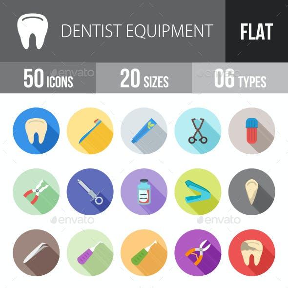 Dentist Equipment Flat Shadowed Icons