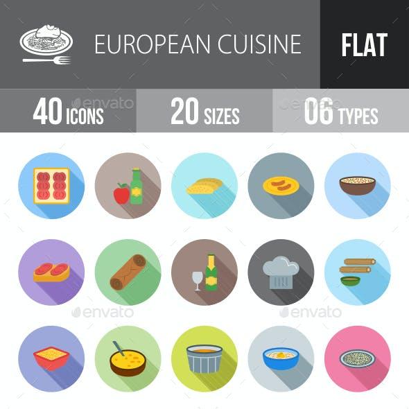 European Cuisine Flat Shadowed Icons
