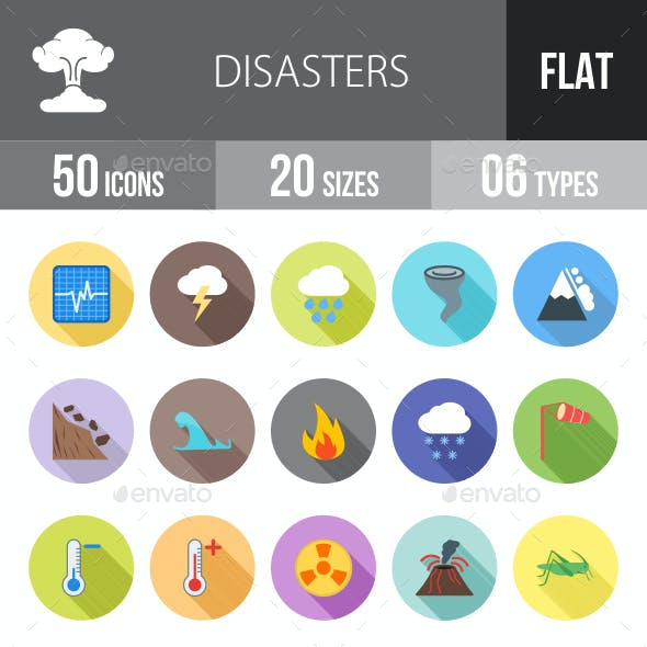 Disasters Flat Shadowed Icons