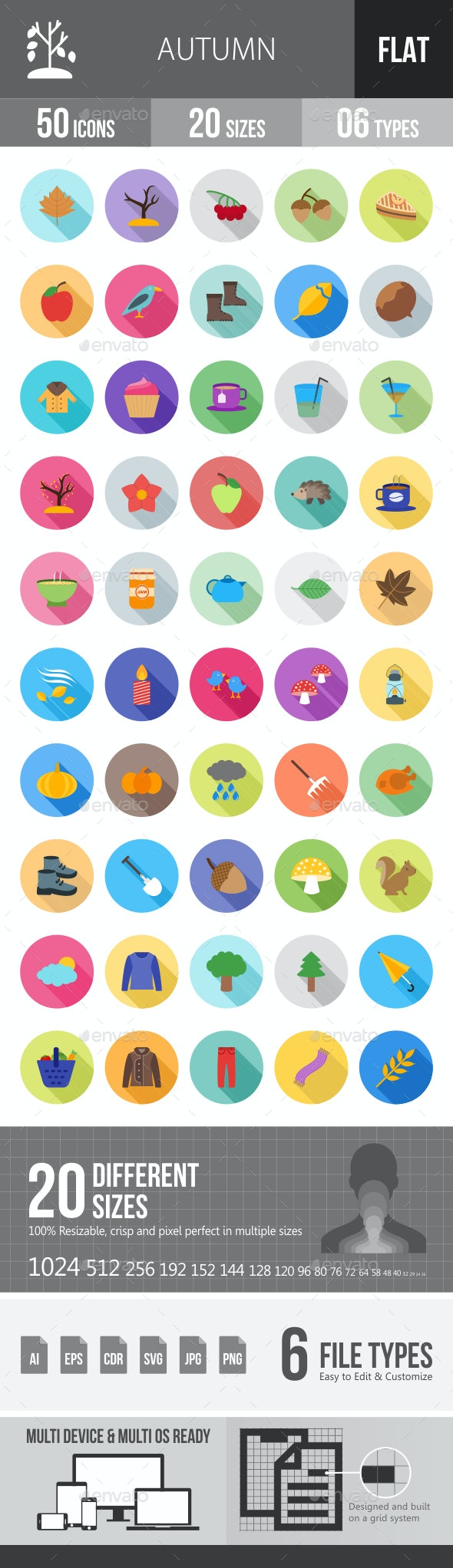 Autumn Flat Shadowed Icons - Icons