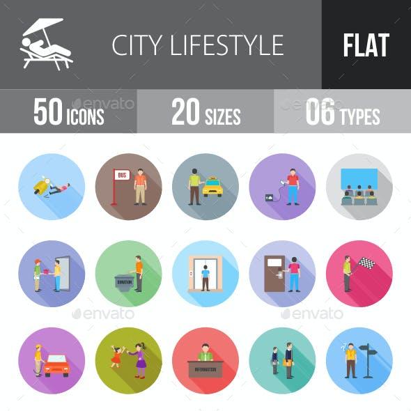 City Lifestyle Flat Shadowed Icons