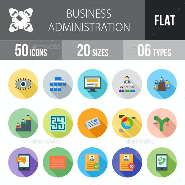 Business Administration Flat Shadowed Icons