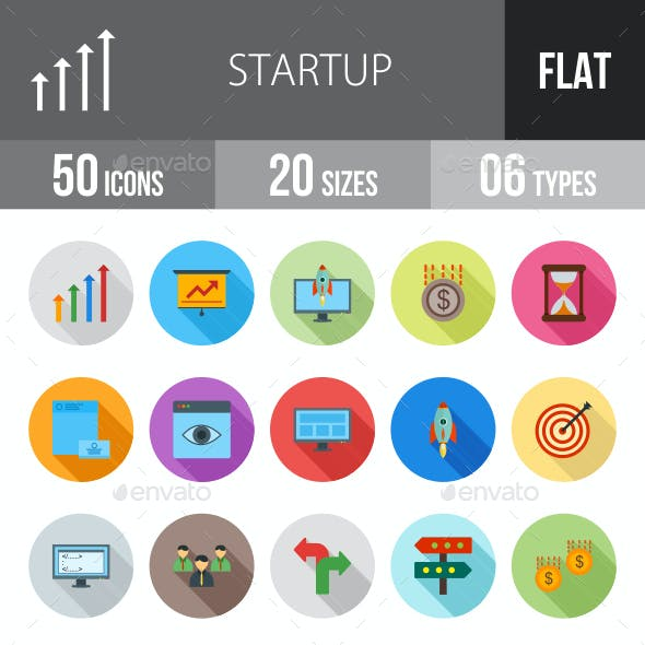 Startup Flat Shadowed Icons
