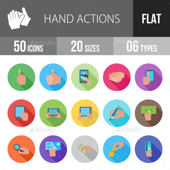 Hand Actions Flat Shadowed Icons