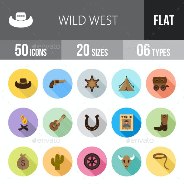 Wild West Flat Shadowed Icons