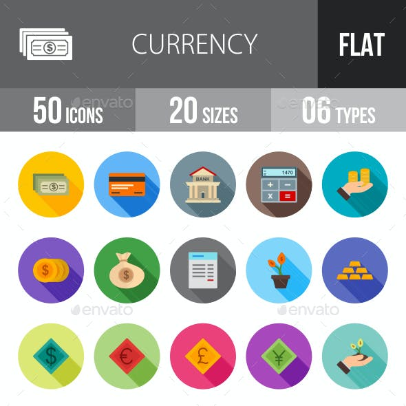 Currency Flat Shadowed Icons