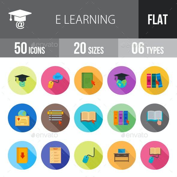 E Learning Flat Shadowed Icons