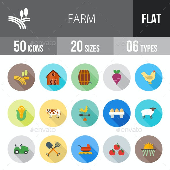 Farm Flat Shadowed Icons