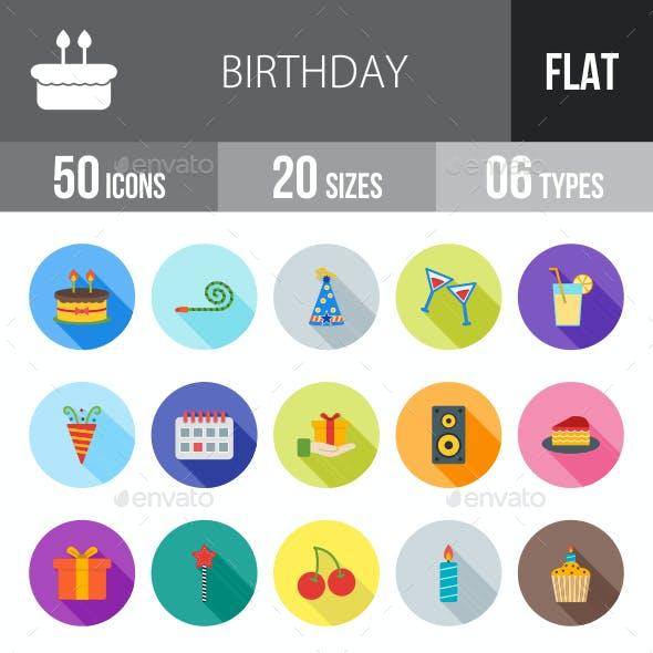 Birthday Flat Shadowed Icons