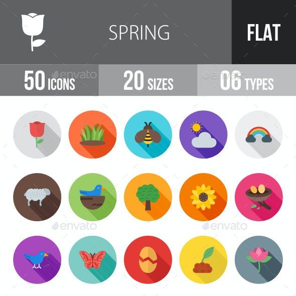 Spring Flat Shadowed Icons