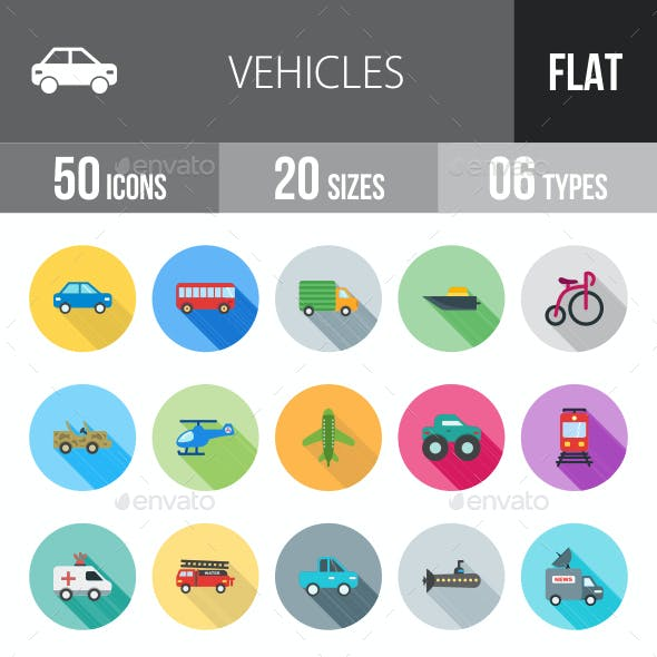 Vehicles Flat Shadowed Icons