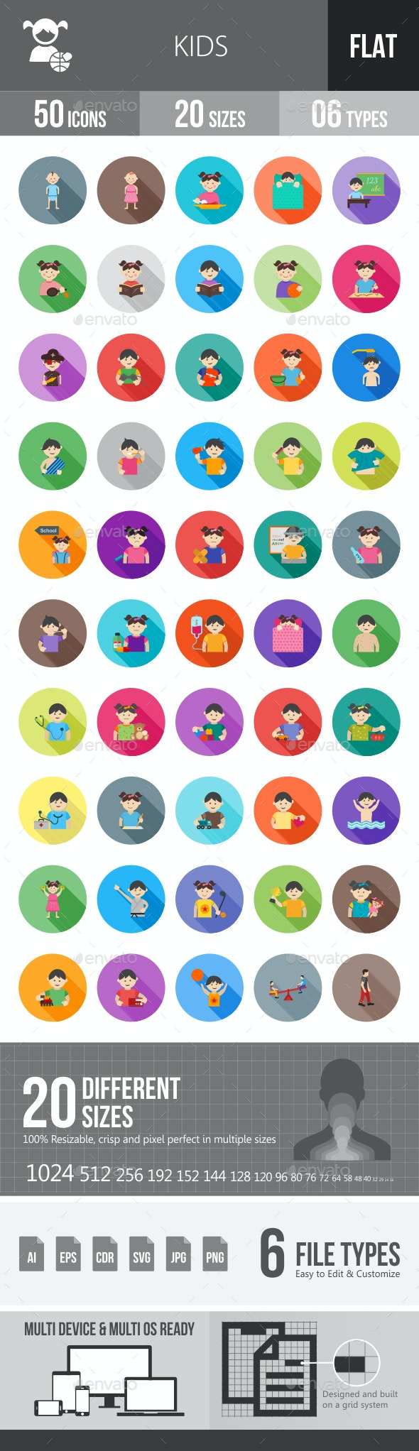 Kids Flat Shadowed Icons - Icons
