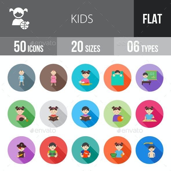 Kids Flat Shadowed Icons