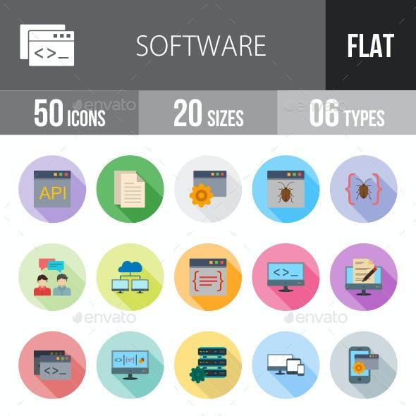 Software Development Flat Shadowed Icons