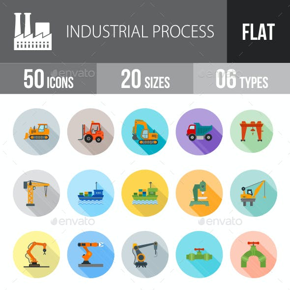 Industrial Process Flat Shadowed Icons