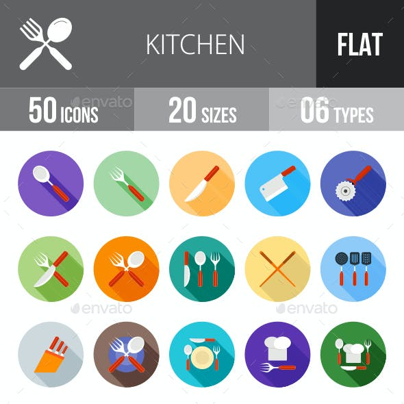 Kitchen Flat Shadowed Icons