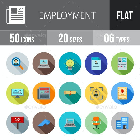 Employment Flat Shadowed Icons