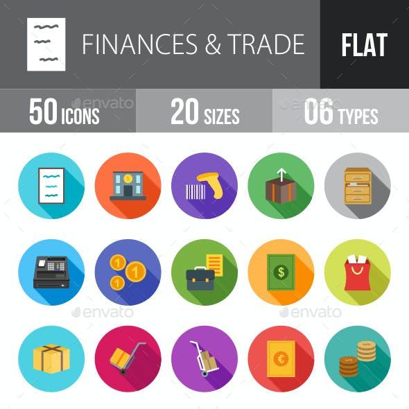 Finances & Trade Flat Shadowed Icons