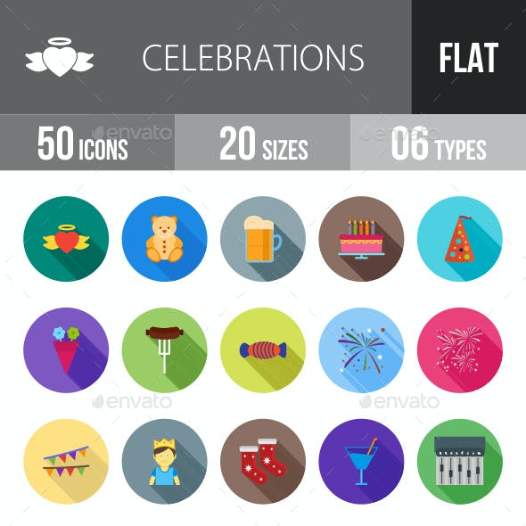 Celebrations Flat Shadowed Icons
