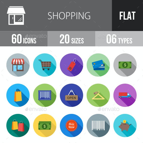 Shopping Flat Shadowed Icons
