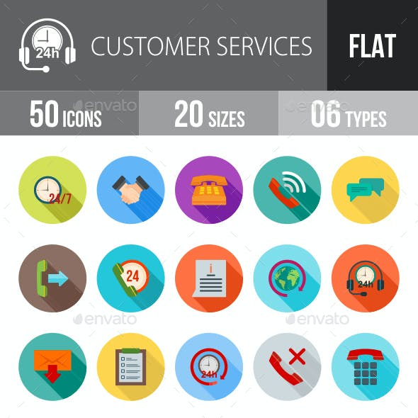 Customer Services Flat Shadowed Icons