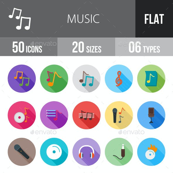Music Flat Shadowed Icons