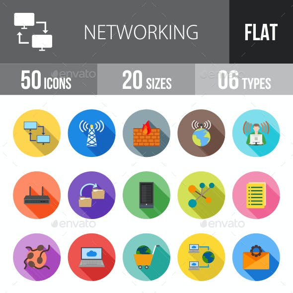 Networking Flat Shadowed Icons