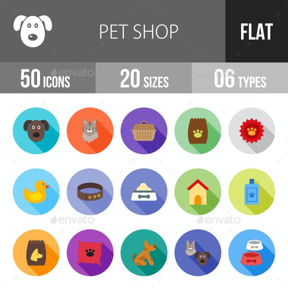 Pet Shop Flat Shadowed Icons