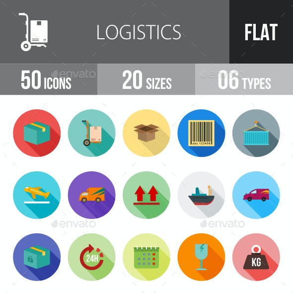 Logistics Flat Shadowed Icons