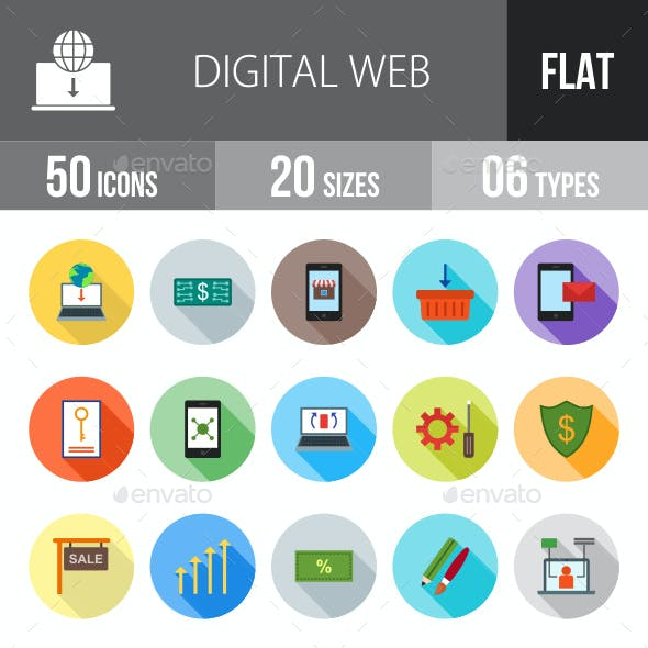 Digital Web Flat Shadowed Icons