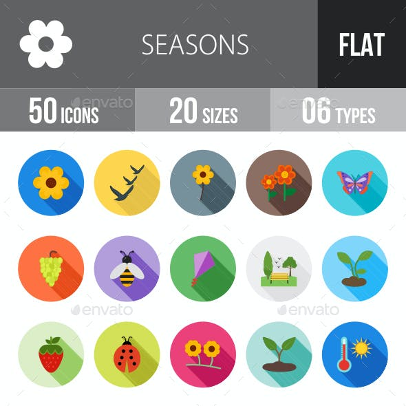 Seasons Flat Shadowed Icons