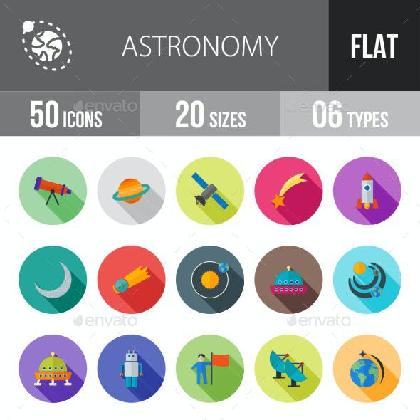 Astronomy Flat Shadowed Icons